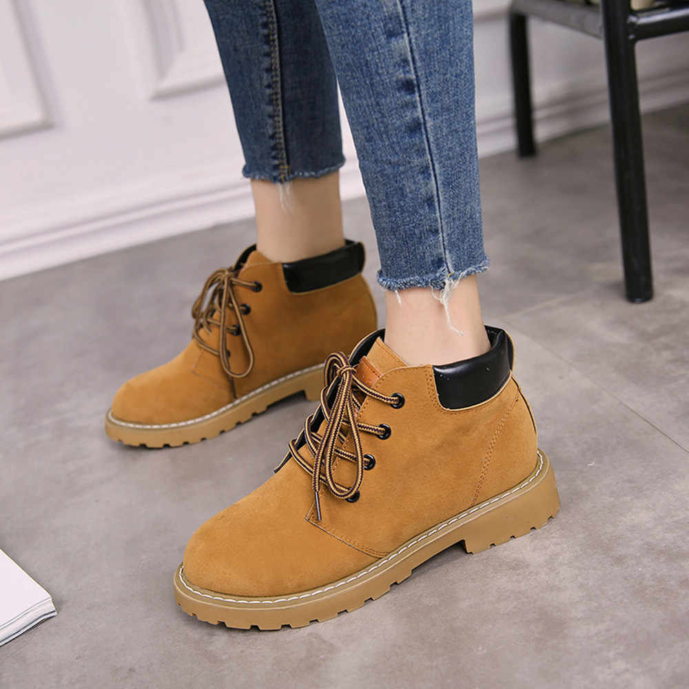 Vintage Motocycle Boots Women Casual Flock Square Heel Boots Basic Cross-tied Flats Shoes Woman botas mujer invierno 2019