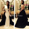 Robe de soirée 2017 Arabia Árabe Larga Blanco y Negro Vestido de noche de Dos-en-Un Balón vestido Backless Atractivo Dubai Partido Prom vestidos