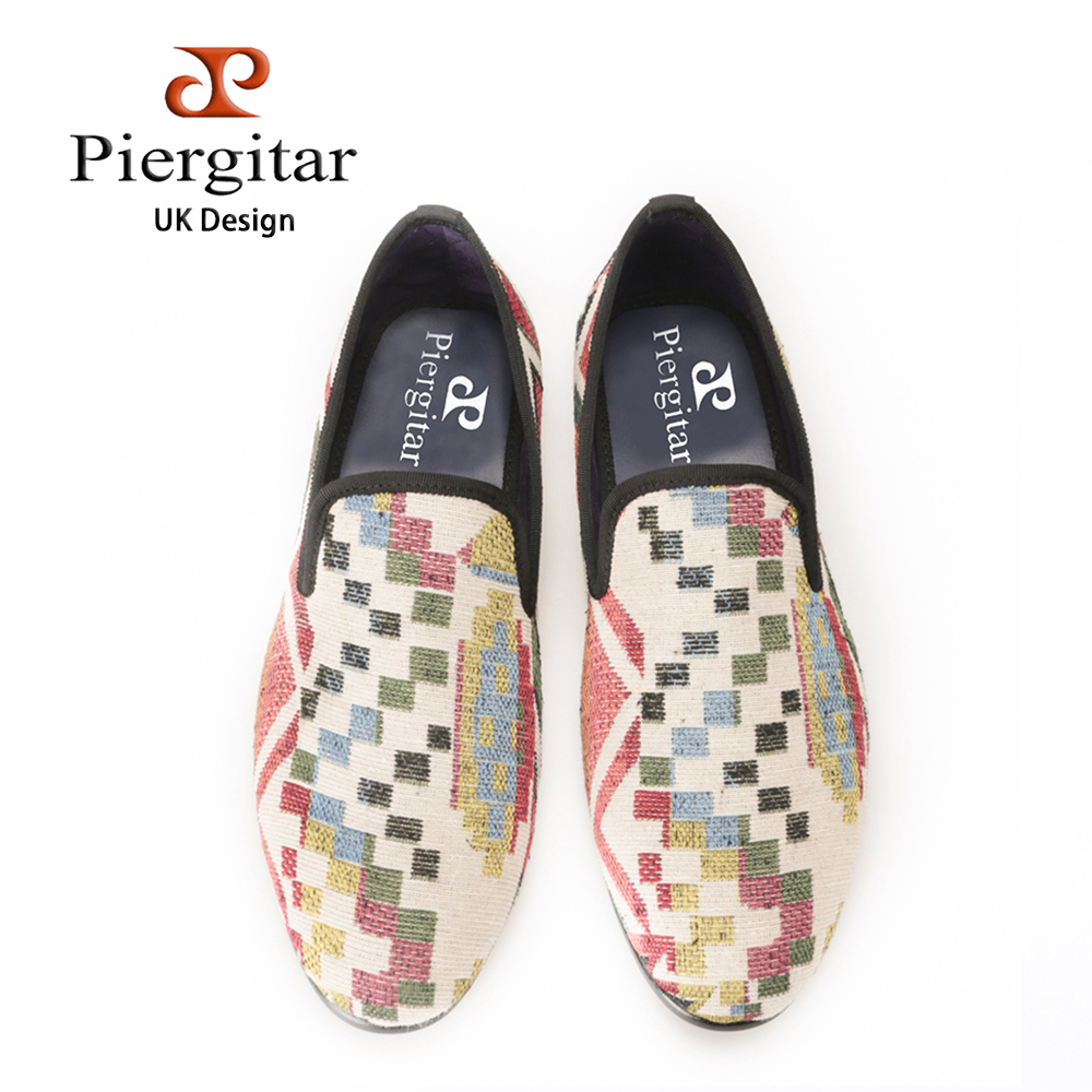 New fashion men Jacquard shoes using Korea cotton with irregular and colorful plaid design casual and dress men's loafersn zip back fit and flared plaid dress