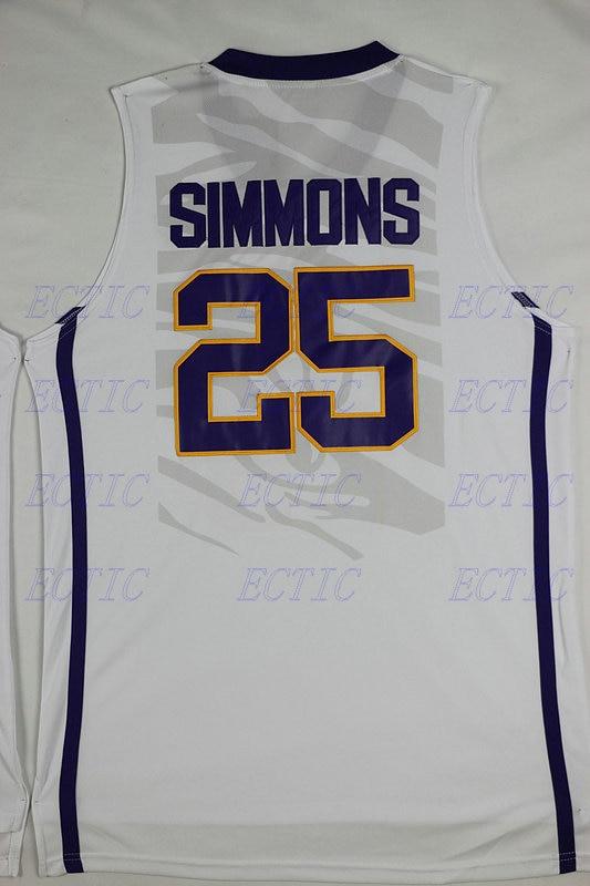 93754ae2e0a 2018 ECTIC Ben Simmons  25 LSU White Purple Yellow Retro Throwback ...