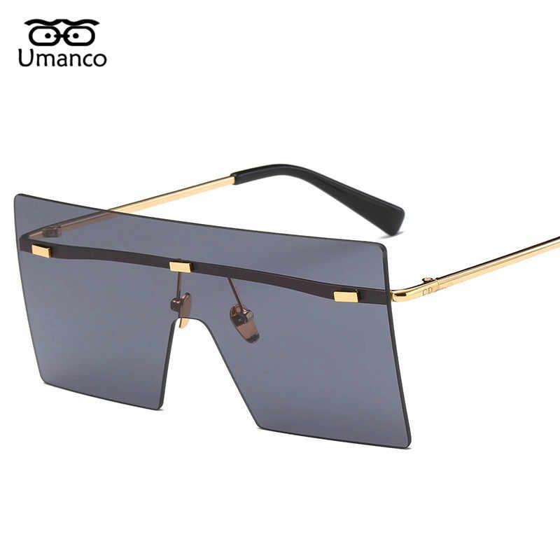 25c78508331b Umanco Big Square Rimless Sunglasses Women Men Vintage Fashion Metal Sun  Glasses Female Oversized Shades Eyewear