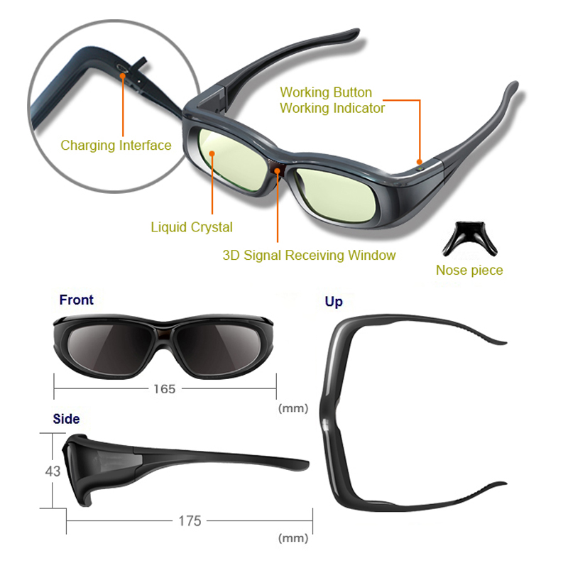 1pc <font><b>RF</b></font> 3D bluetooth <font><b>Glasses</b></font> Eyewear for JVC/<font><b>sony</b></font>/Epson LCD 3D Projectors models 5200/8515/6510/3020/6515/550/5300 & retail box