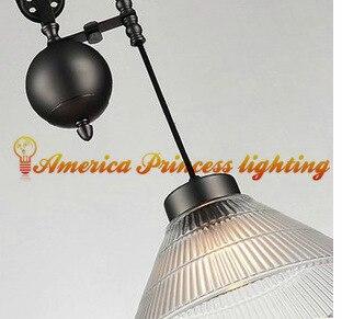 Américain rétro nostalgie poulie ascenseur verre lustre restaurant étude lampe lumière, matériel fer, E27, AC110 240V - 3