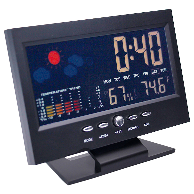 Digital Colorful LCD temperature humidity clock Alarm Function Calendar weather station Thermometer Hygrometer with Base 40% off digital lcd thermometer projection weather station temperature calendar display dual alarm clock usb charging function