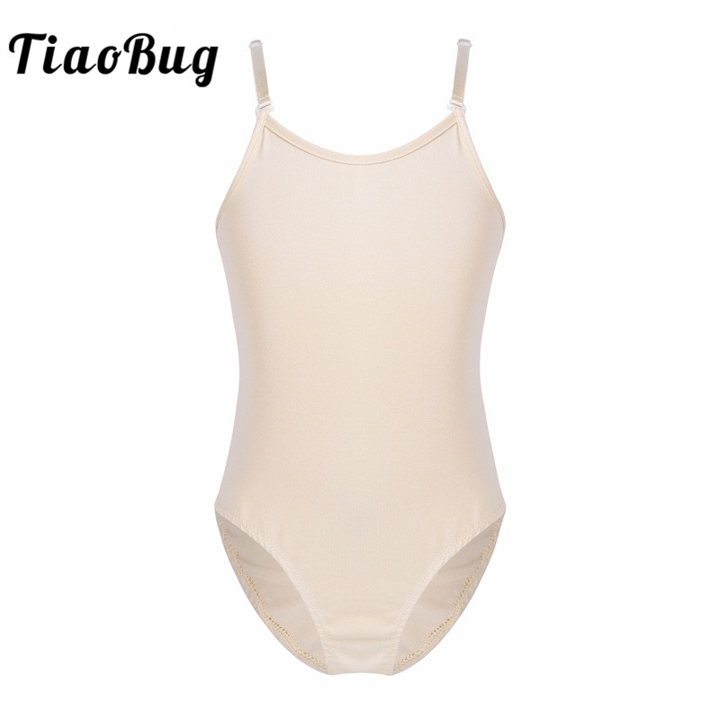 TiaoBug Nude Child Teens Adjustable Strap Dance Leotard Underwear For Kids Ballet Tutu Girls Gymnastics Leotard Sports Bodysuit