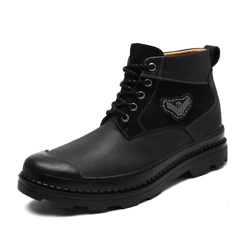 Fur Bottes Fur black Cuir Black Boots De Boots brown Peluche Fourrure Hommes With Merkmak Boots Hiver Chaussures Véritable Automne Cool Cheville Chaud brown Respirant Casual Martin En HxBqCFX