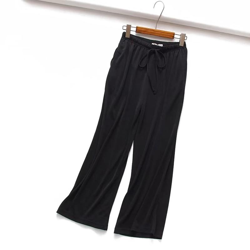 Women's casual   wide     leg     pants   loose   pant   fashion culottes elastic waist female casual nine   pants