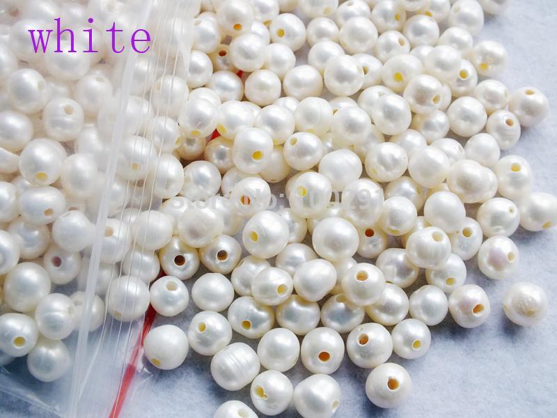 Высококачественные белые пресноводные жемчужины 9-10 мм с отверстием 2 мм MN-3407