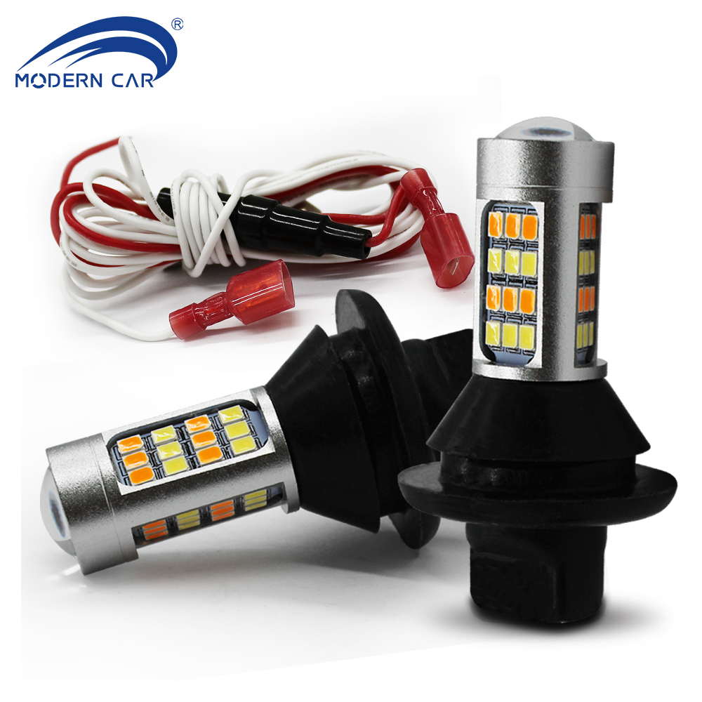 MODERN CAR Turn Signal Lamp with Daytime Running Light 2835 40SMD Amber & White, T20 7440 S25 BA15S BAU15S Car Bulb with Canbus 2pcs 12 24v t20 7440 2835 42 smd 1000lm 20w car led drl daytime running light dual color switchback turn signal lamp bulb
