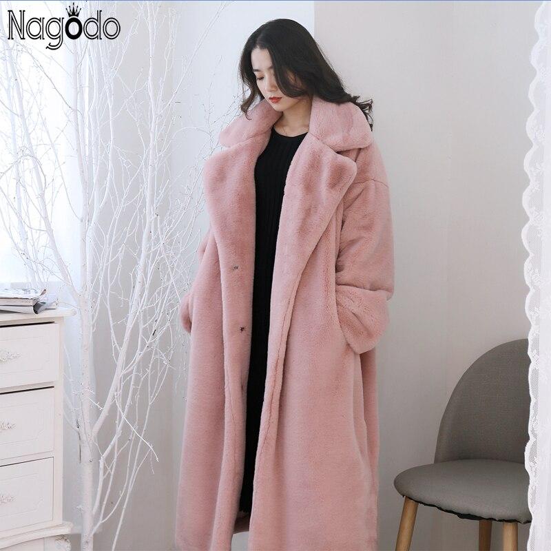 Nagodo x-long lapin fourrure manteau 2018 épais chaud hiver femmes fourrure manteaux blanc rose surdimensionné fausse fourrure manteau dames lâche peluche manteau