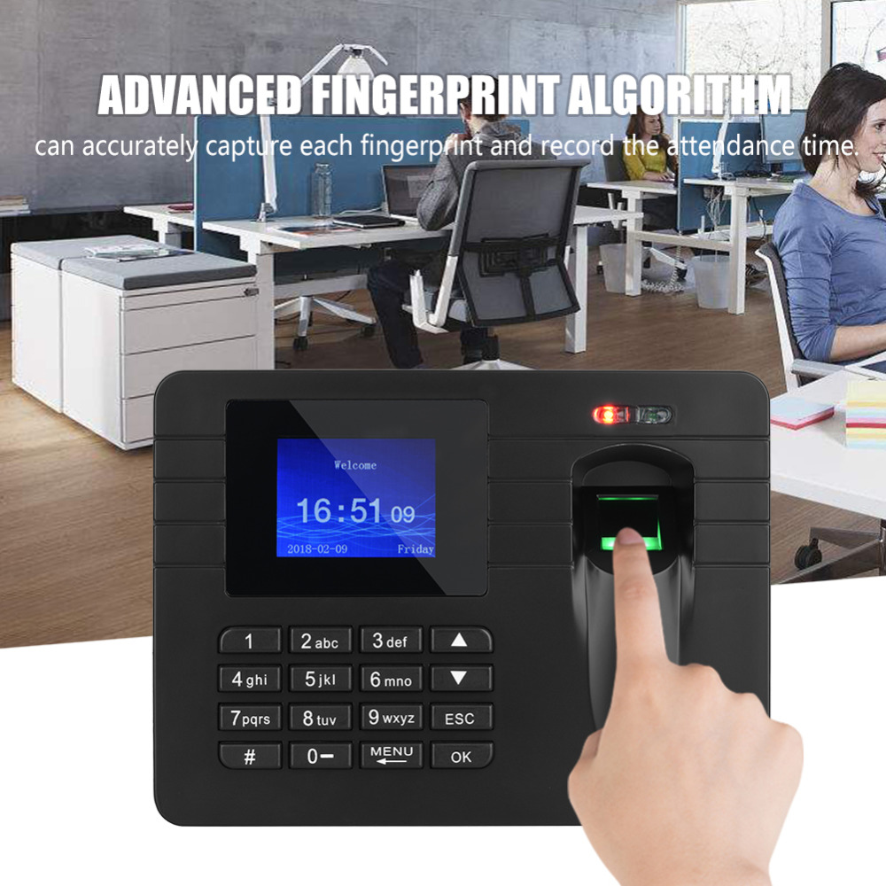 2 4 inch TFT Color Display Biometric Fingerprint Time Clock Recorder Attendance Employee Electronic Punch Reader