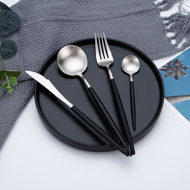 Hot Sale Dinner Set Cutlery Knives Forks Spoons Wester Kitchen Dinnerware Stainless Steel Home Party Tableware Set
