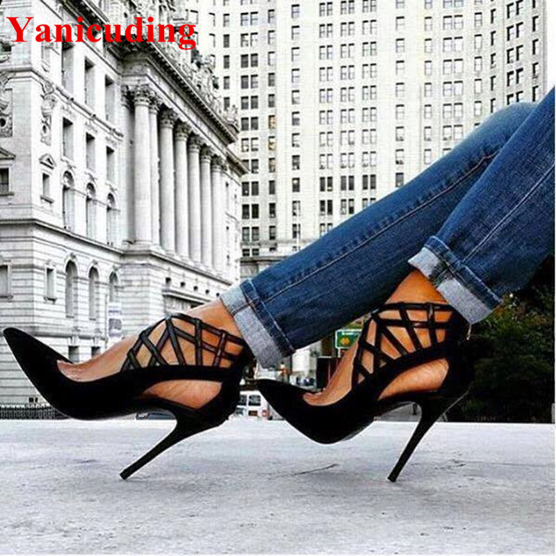 Brand Pointed Toe Sexy Hollow Out Women Pumps Flock Shoes High Thin Heels Runway Wedding Party Shoes Super Star Chaussures Femme moonmeek new arrive spring summer female pumps high heels pointed toe thin heel shallow party wedding flock pumps women shoes