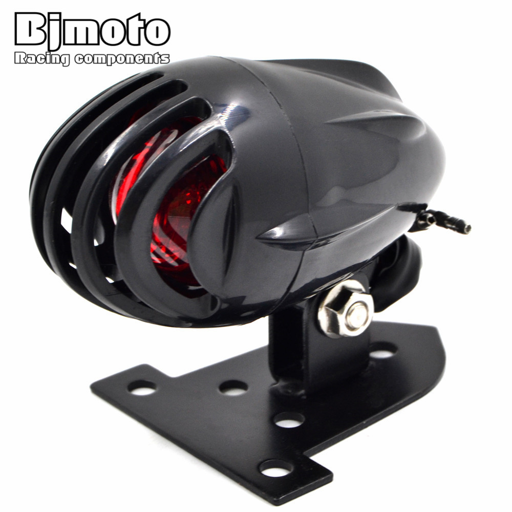 BJMOTO Black Motorcycle Fin License Plate Mount Bullet Tail Brake Light Red Bulb Stop Lamp For Harley Bobber Chopper Custom
