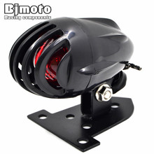 BJMOTO Black Motorcycle Fin License Plate Mount Bullet Tail Brake Light Red Bulb Stop font b