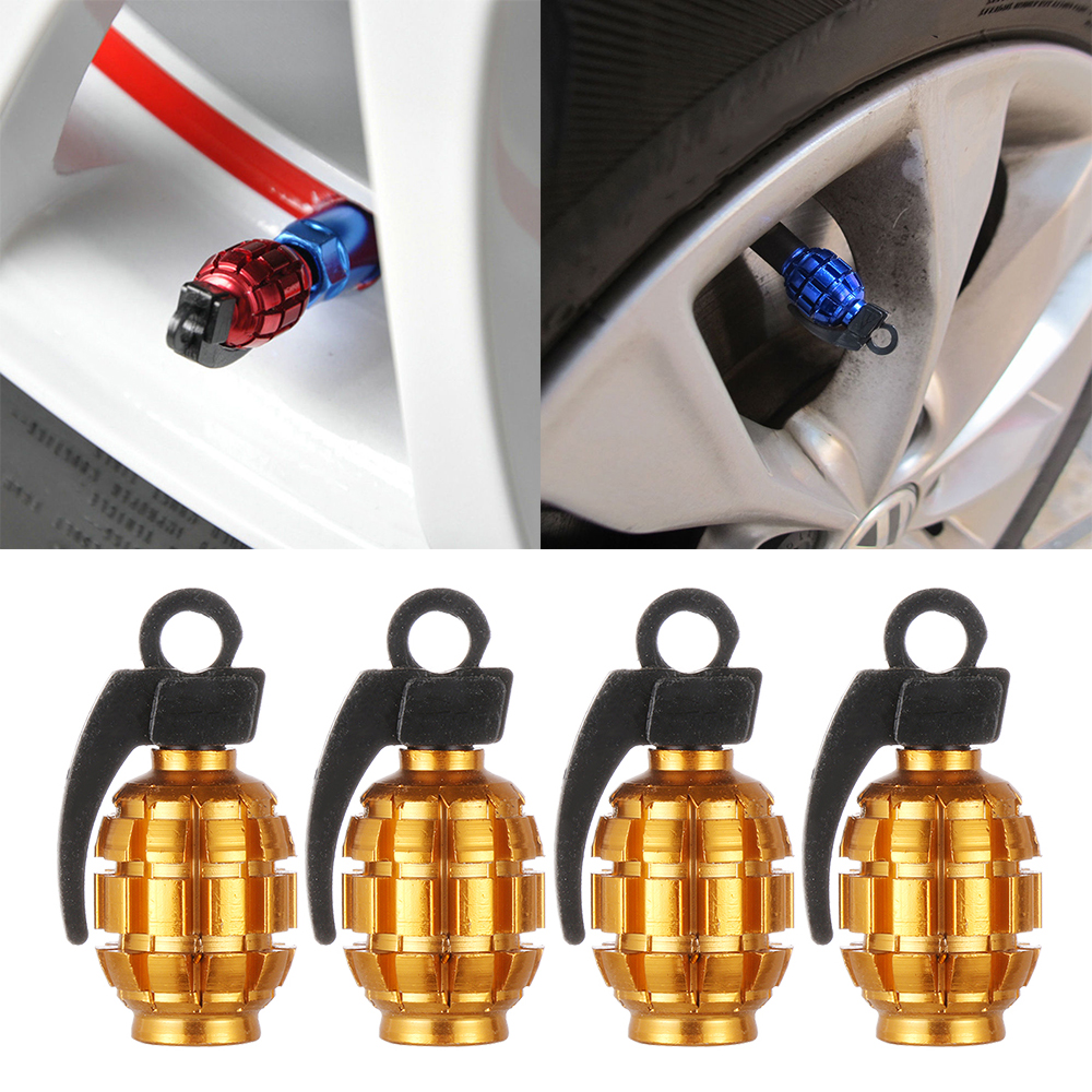 Bicycle Car Accessories Wheel Valve Caps Tire Rim Stem Metal Air Cover