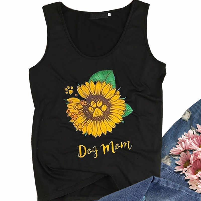 Köpek anne Tank Top sevimli ayçiçeği grafik Tees kadınlar Casual yuvarlak yaka kolsuz yaz t-shirt siyah T shirt kadın tankları