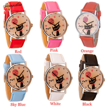 Casual Pointer Dial Lovely Cat PU Leather Band Watches Quartz Students Wrist Watch wholesaleF3