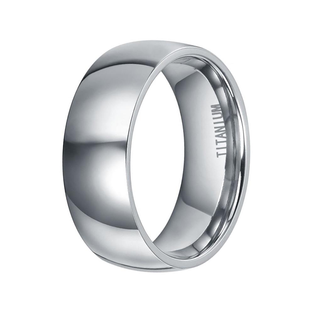 8mm Qollu Dizayn Kişi Klassik Gümüş Titan Ring Yüksək Cilalı - Moda zərgərlik - Fotoqrafiya 4