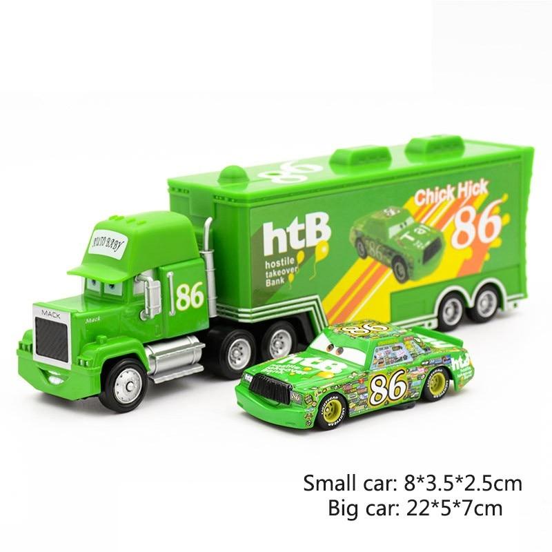 Дисней Pixar Тачки 2 3 игрушки Молния Маккуин Джексон шторм мак грузовик 1:55 литая под давлением модель автомобиля для детей рождественские подарки - Цвет: Two cars 7