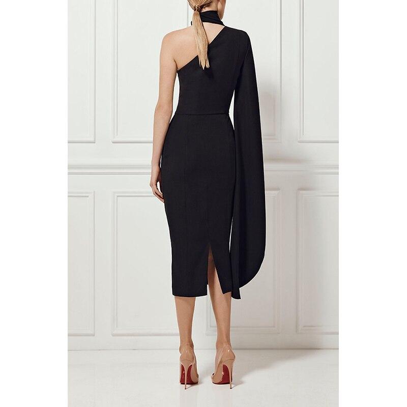 Sexy Polyster Nu Longues Chic Une Causal Hiver Robe Élégant Manches Noir À Celebrity Robes Épaule 2018 Dos Halter Mode Nv8nwm0