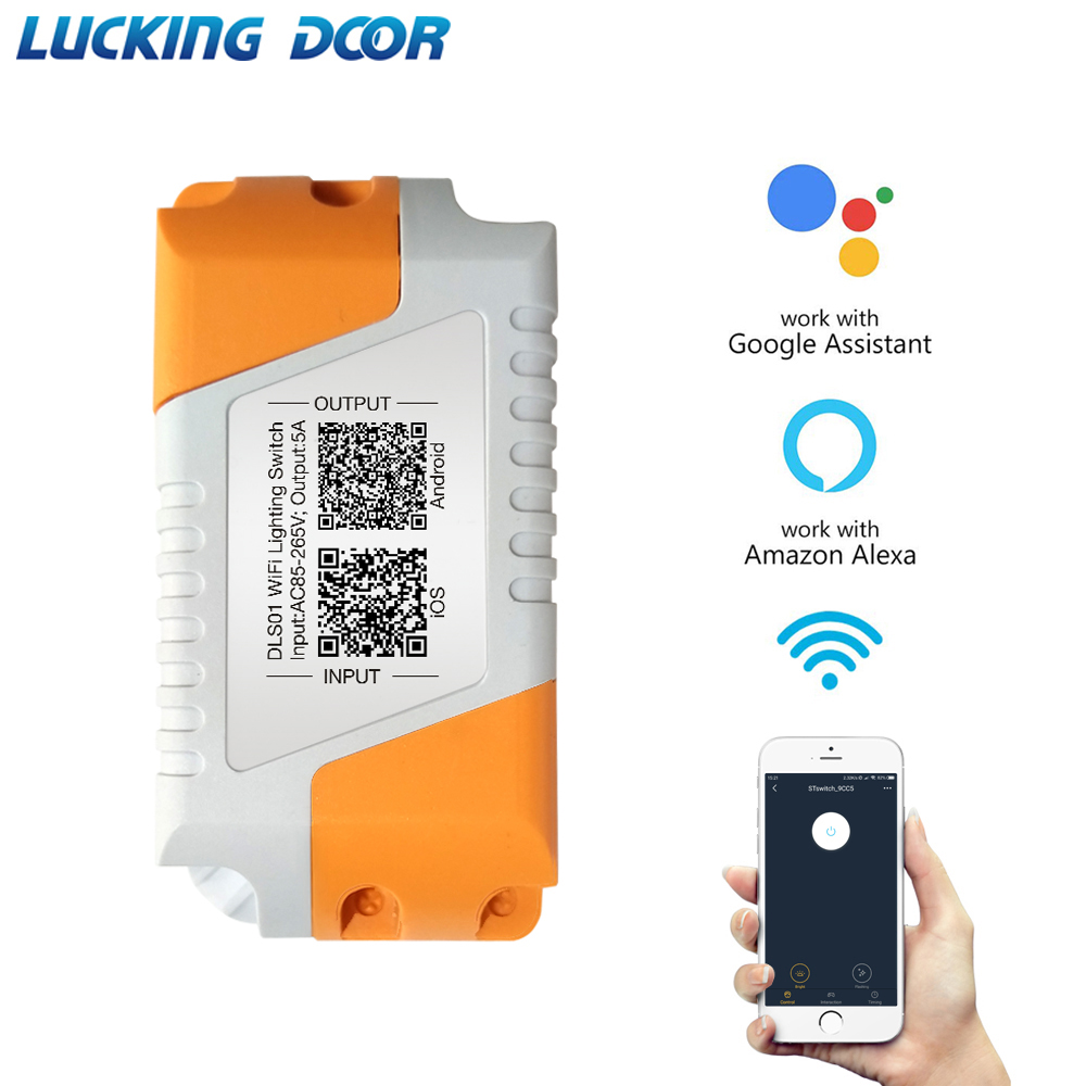 Lucking Door Wifi Smart Light Control Switch IOS Android APP Remote Control DC 5A AC 85-265V Compatible With Google Amazon Alexa