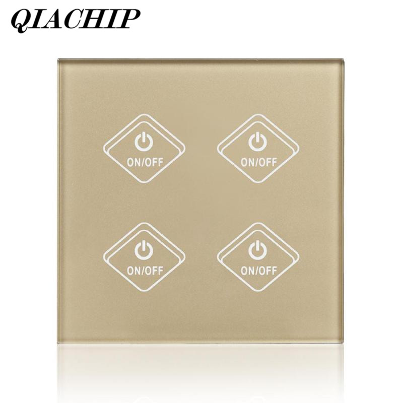 QIACHIP 4 Gang WiFi Switch Smart APP Remote Control Work with Amazon Alexa Google Home Timing No Hub Required UK Plug DS25 qiachip uk plug wifi smart switch 2 gang 1 way light wall switch app remote control work with amazon alexa google home timing