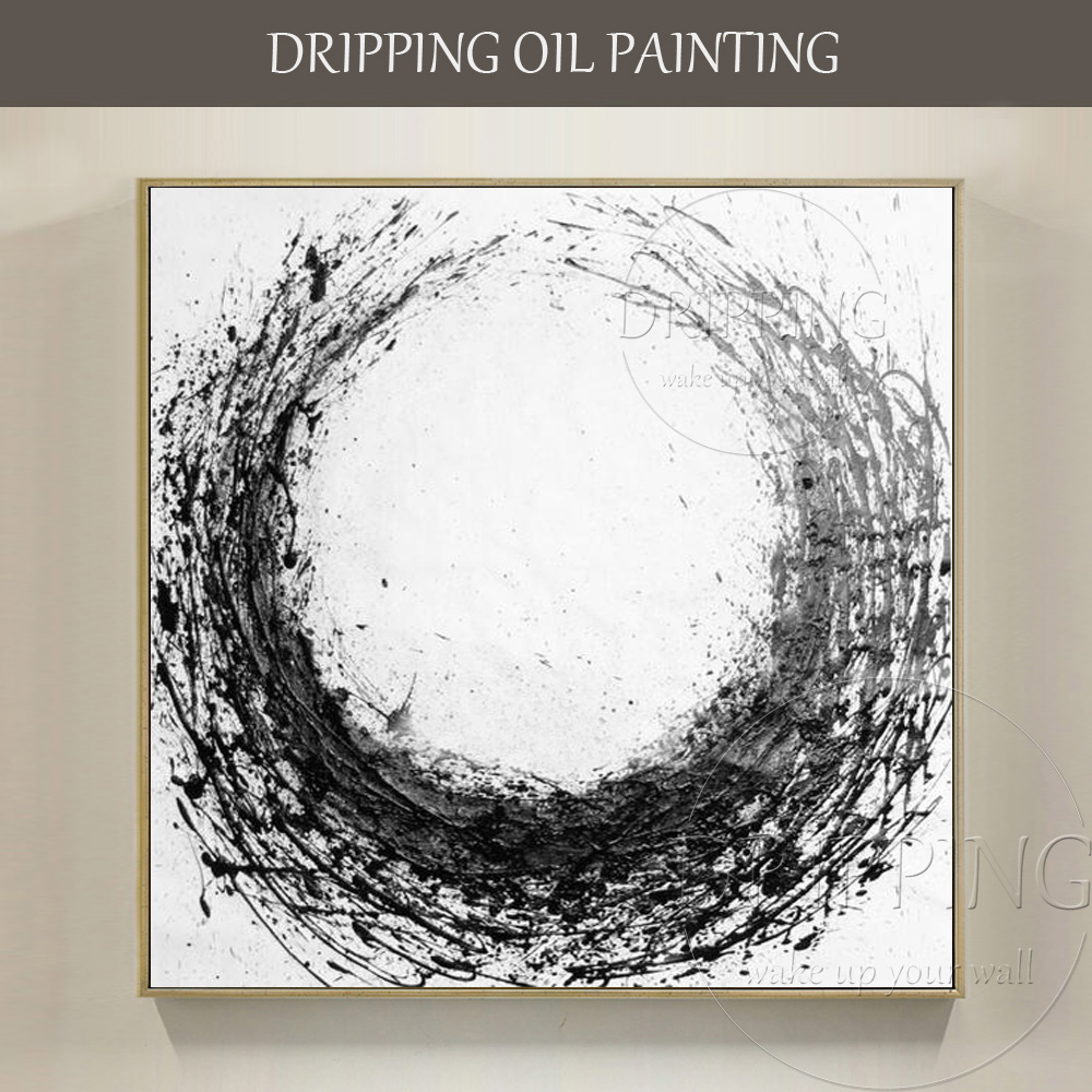 Artist Hand painted High Quality Modern Abstract Black and White Oil Painting on Canvas Handmade Large Abstract Oil Painting
