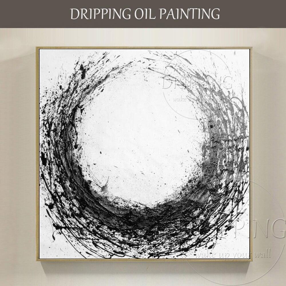 Spiksplinternieuw Kunstenaar handgeschilderde Hoge Kwaliteit Moderne Abstracte Zwart JX-64