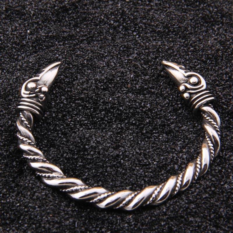 все цены на stainless steel raven Bracelet Indian Jewelry Fashion Accessories Viking Bracelet Men Wristband Cuff Bracelets For Women Bangles онлайн