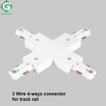 3 Wire Four way Track Light Rail Connector Fitting LED Connectors For Austria America Canada