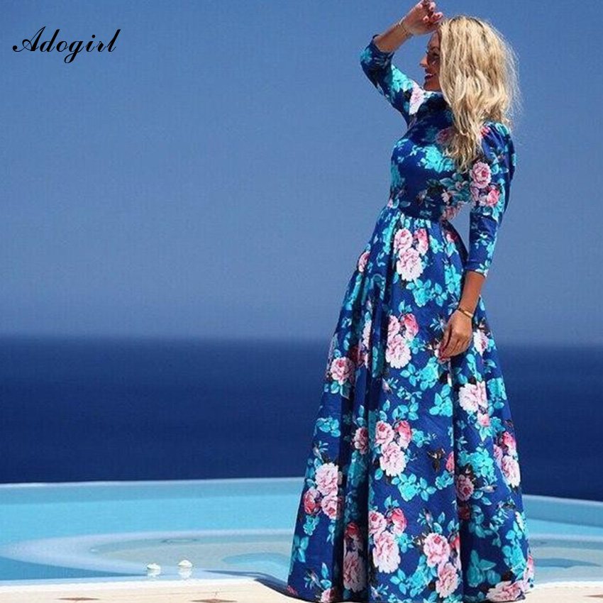 Adogirl Vestido Chiffon Casual Bohemian Dress Summer Blue Floral Print Elegant Long Dress Plus Size Three Quater Sleeve Dress