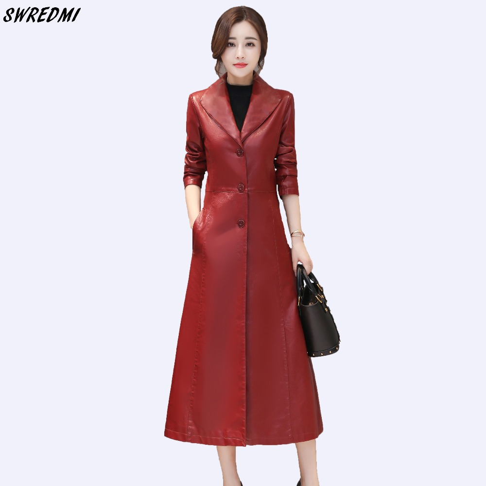 SWREDMI Women Long   Leather   Coat Office Lady   Leather   Clothing Outwear Jaqueta Feminina Slim Fashion Turn -down Collar   Suede