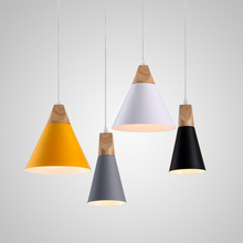 Фотография Slope lamps Pendant Lights Wood And Aluminum Restaurant Bar Coffee Dining Room LED Hanging Light Fixture