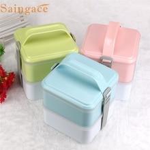 Null Portable 2 Schichten Bento Lunchbox Plastiknahrungsmittelbehälter Mittagessen Container
