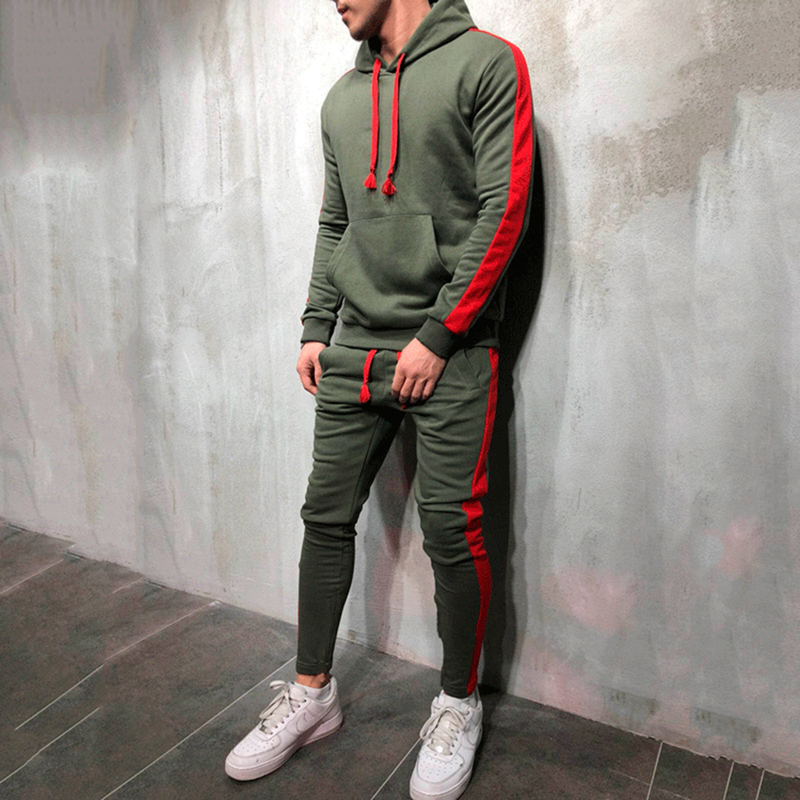 2Pcs Sets Tracksuit Men New Brand Autumn Winter Hooded Sweatshirt +Drawstring Pants Male Stripe Patchwork Hoodies