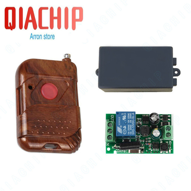 QIACHIP Universal Wireless Remote Control Switches 433mhz AC 85V ~ 250V 110V 220V 1CH Relay Receiver Modules + RF Remote Control
