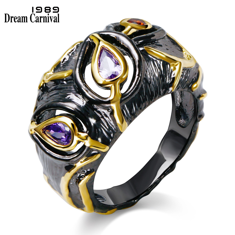 Dreamcarnival 1989 Party Ring för Ladies Everlasting Drop Shape Purple Zircon Bezel Smycken Hollow Black Gold Color Women SR2272