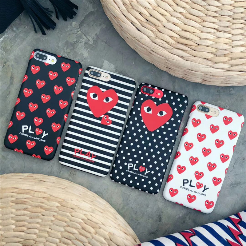 JSPYL Protection Luminous CDG Comme Des Garcons Phone Cases For iPhone 7 8 Plus 6 6s Plus Play Frosted Hard Cover For iPhone X