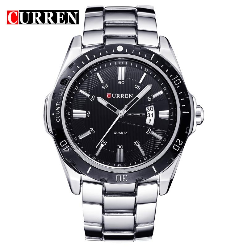 Prix pour 2016 nouveau mode curren marque casual homme d'affaires horloge casual en acier de luxe mâle frais poignet quartz armée sport cadeau montre 8110