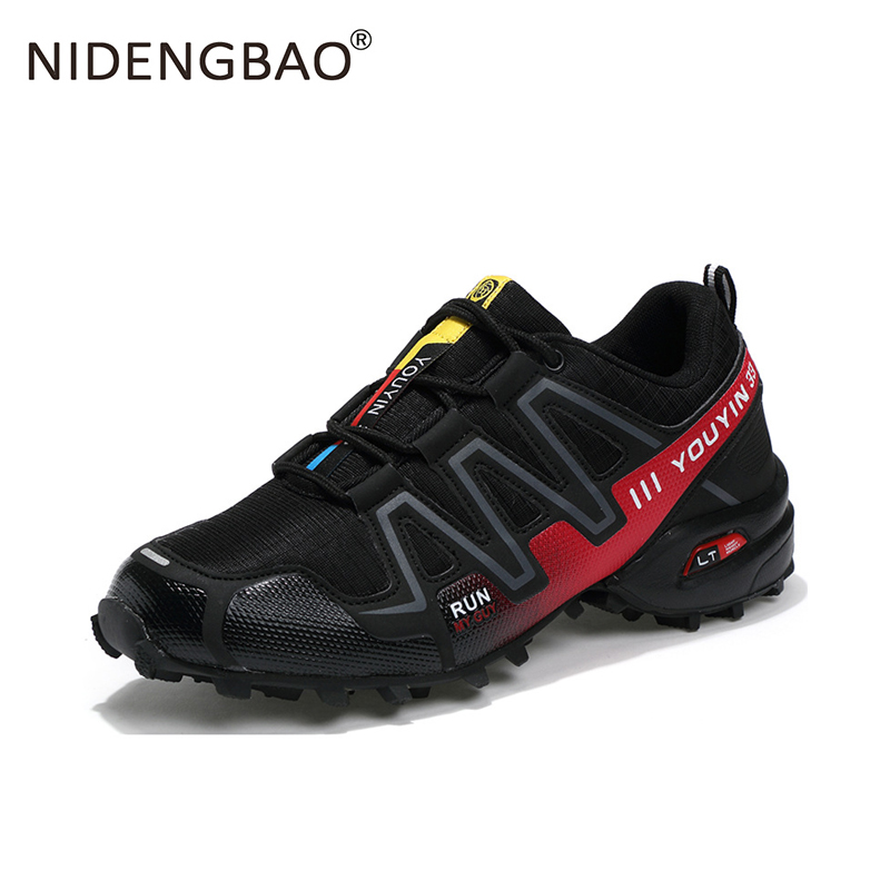 2018 Brand Outdoor Sports Shoes Comfortable Speed Cross Men Running Shoes Breathable Lace up Sneakers Plus Size Eur 39-48 sports style straight leg plus size lace up fitted cross and letters embroidery shorts for men