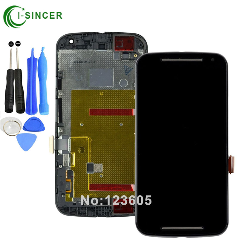 White,Black For Motorola Moto G2 G+1 XT1063 XT1068 XT1069 LCD Display touch digitizer with Frame Assembly +tools free shipping