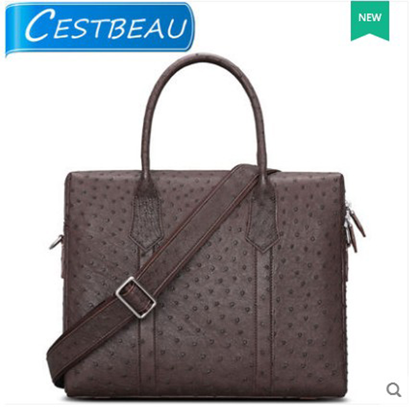 Cestbeau New South African ostrich skin man handbag business casual men bag  man shoulder bag business briefcase косметичка south africa airlines south african airways south african airways