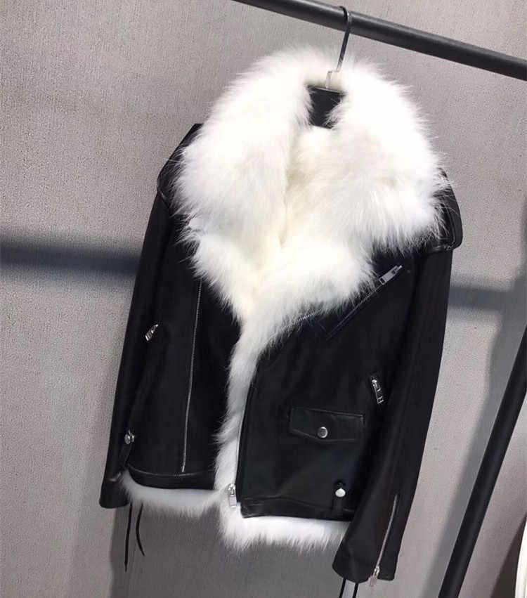 Marke Design Echtpelz Schaffell Jacke Frauen Winter Mode Revers Echt Fox Pelz Liner Echtem Leder Lokomotive Jacke