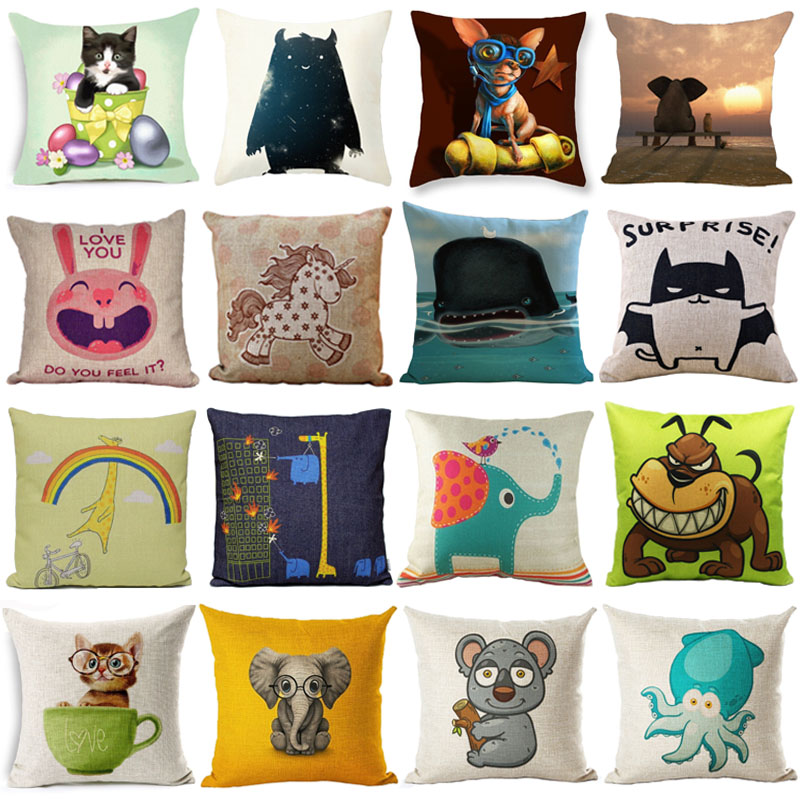 Cute Cartoon Animal Cushion Cover 45x45CM(18x18IN) Lovely Dog Cat Elephant Square Throw Pillow Cover Cotton Linen Pillow Case