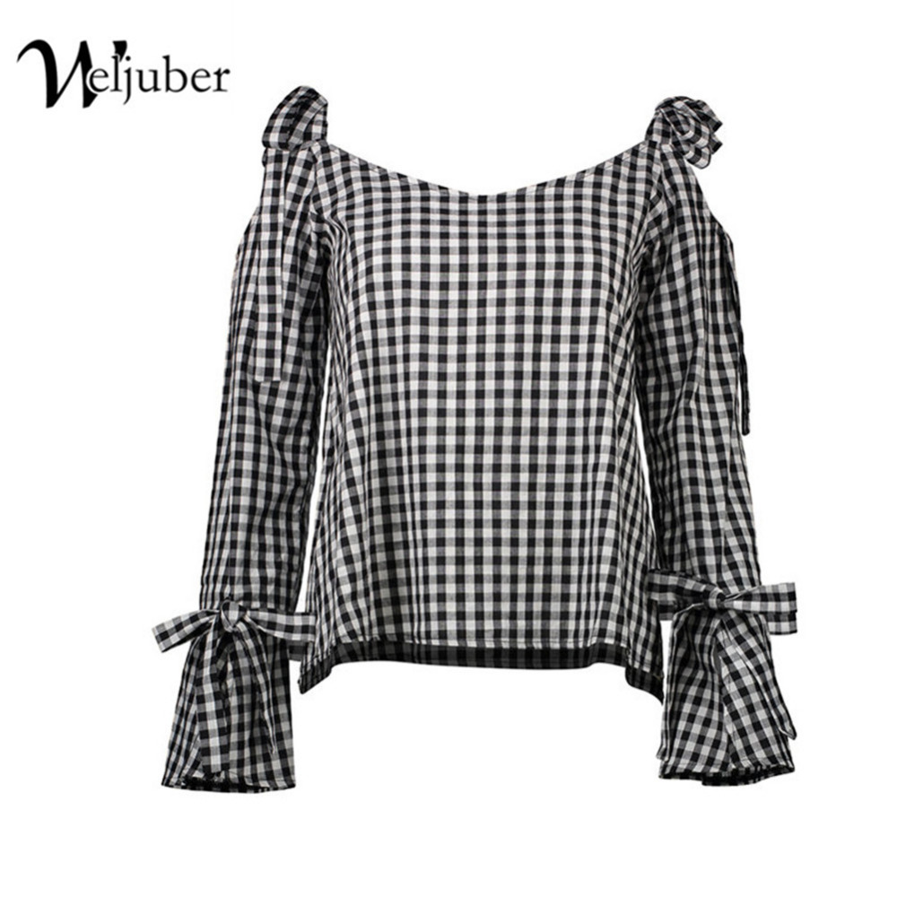 Weljuber Women plaid Blouse 2018 Summer Beach Blouse with bow Sexy Women hollow out Tops and Blouse Ladies Shirt Hot Sell