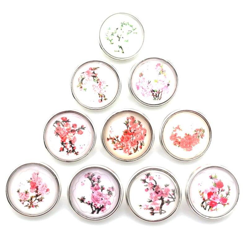 10pcs / lot Mandala Flower Snap button Jewelry 18mm Glass Snap Button Jewelry Glass Charms Fit DIY Bracelet Snaps Jewelry C073