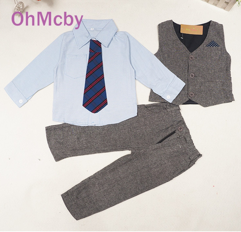 OhMcby Children Clothing Kids Boys Clothes Baby Boy Suit Gentleman Fashion Wedding Formal Spring Autumn Vest Tie Shirt Pant Sets 2016 new arrival fashion baby boys kids blazers boy suit for weddings prom formal wine red white dress wedding boy suits