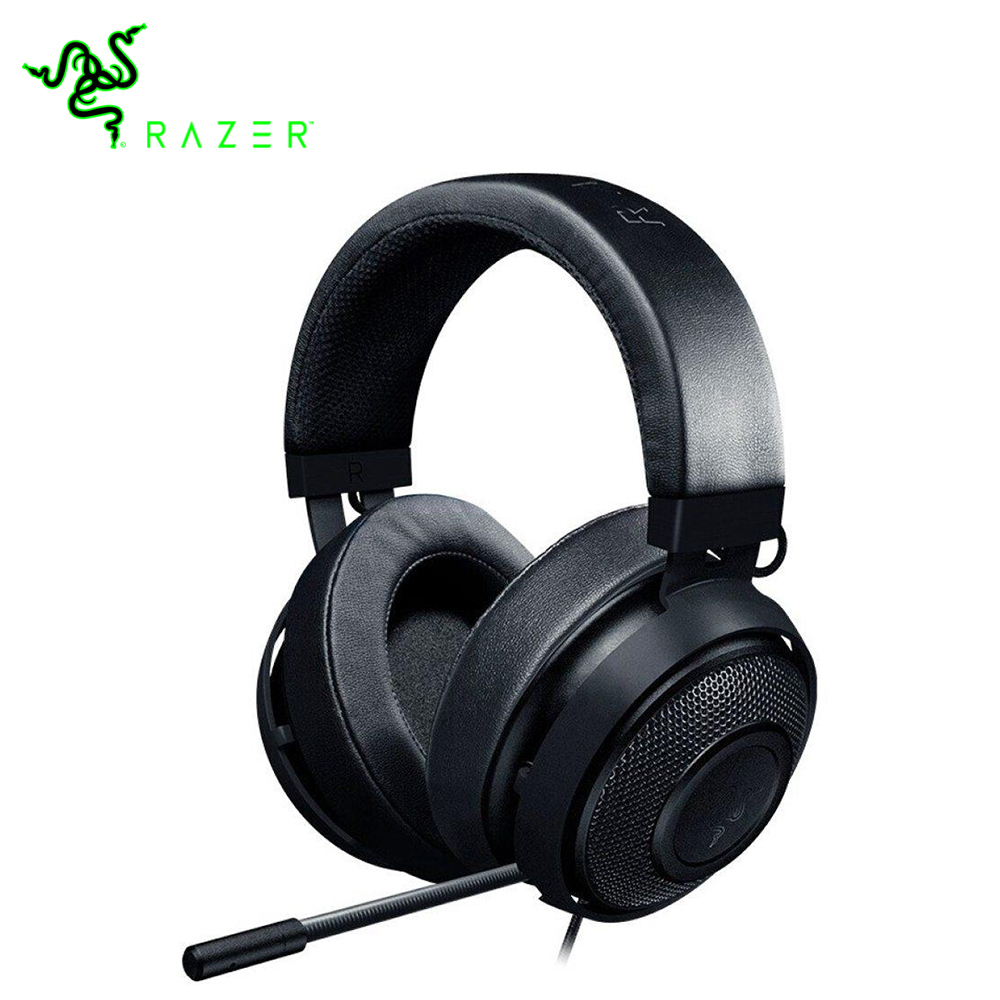 Gaming Headphones with Microphones Razer Kraken 3 5mm Wired Headsets Noise Cancelling Cooling Earcup Cushions for