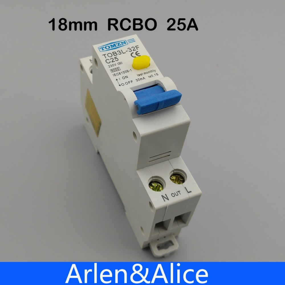 18MM RCBO 25A 1P+N 6KA Residual current differential automatic Circuit breaker with over current and Leakage protection dz47le 3p n 100a d type 400v 50hz 60hz residual current circuit breaker with over current and leakage protection rcbo
